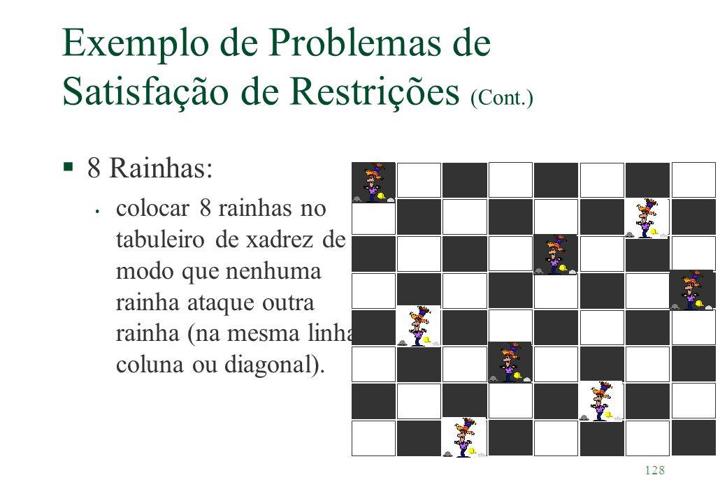 128 Exemplo de Problemas de Satisfação de Restrições (Cont.) §8 Rainhas: colocar 8 rainhas no tabuleiro de xadrez de modo que nenhuma rainha ataque ou