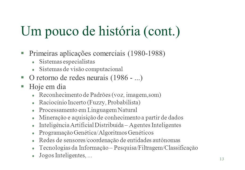 13 Um pouco de história (cont.) §Primeiras aplicações comerciais (1980-1988) l Sistemas especialistas l Sistemas de visão computacional §O retorno de