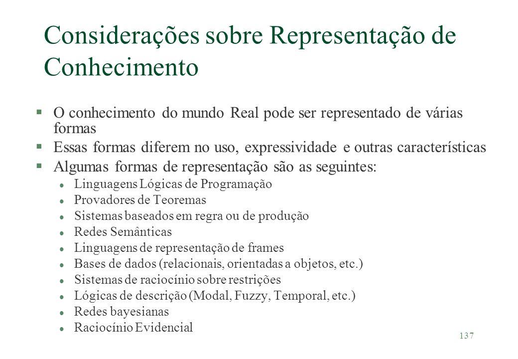 137 Considerações sobre Representação de Conhecimento §O conhecimento do mundo Real pode ser representado de várias formas §Essas formas diferem no us