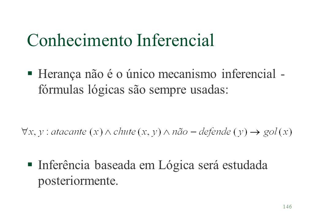 146 Conhecimento Inferencial §Herança não é o único mecanismo inferencial - fórmulas lógicas são sempre usadas: §Inferência baseada em Lógica será est