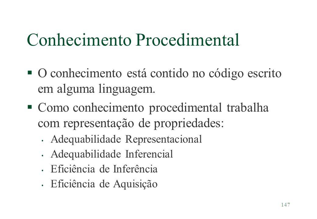 147 Conhecimento Procedimental §O conhecimento está contido no código escrito em alguma linguagem. §Como conhecimento procedimental trabalha com repre