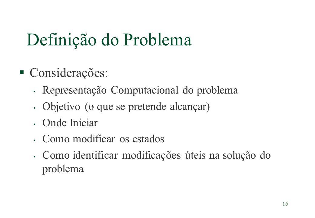 16 Definição do Problema §Considerações: Representação Computacional do problema Objetivo (o que se pretende alcançar) Onde Iniciar Como modificar os