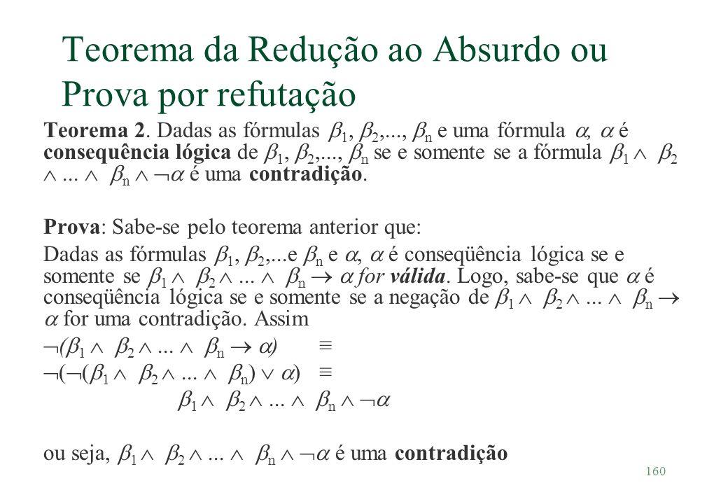 160 Teorema da Redução ao Absurdo ou Prova por refutação Teorema 2. Dadas as fórmulas 1, 2,..., n e uma fórmula, é consequência lógica de 1, 2,..., n