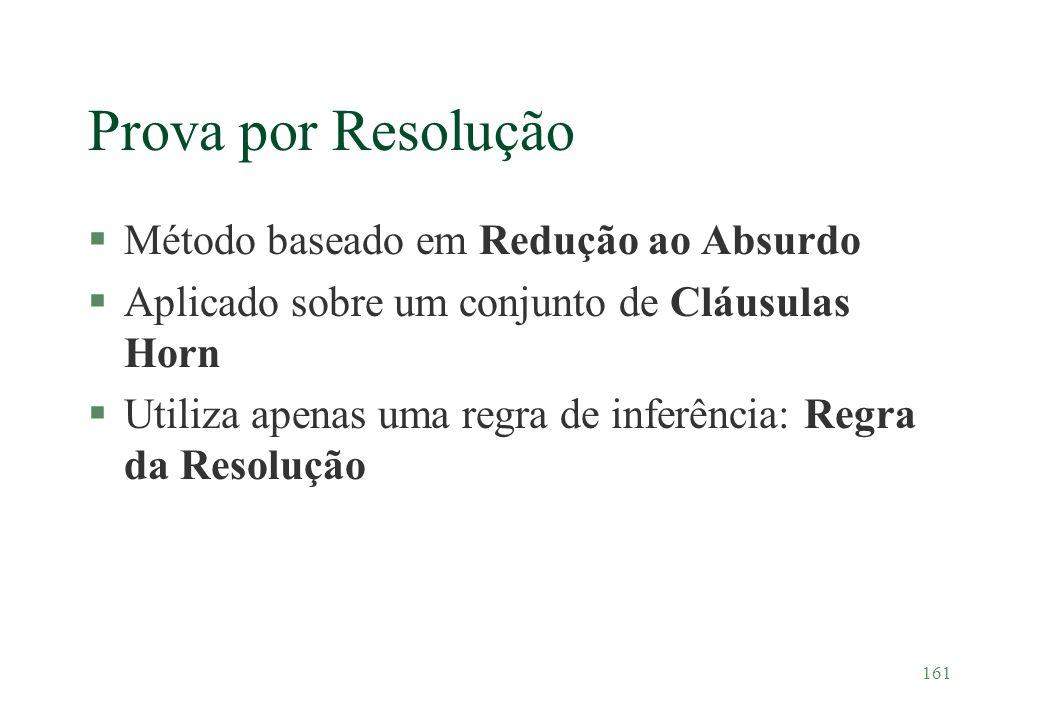 161 Prova por Resolução §Método baseado em Redução ao Absurdo §Aplicado sobre um conjunto de Cláusulas Horn §Utiliza apenas uma regra de inferência: R