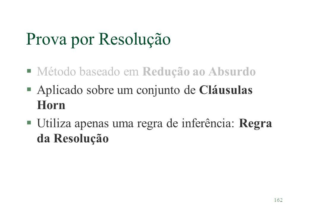 162 Prova por Resolução §Método baseado em Redução ao Absurdo §Aplicado sobre um conjunto de Cláusulas Horn §Utiliza apenas uma regra de inferência: R