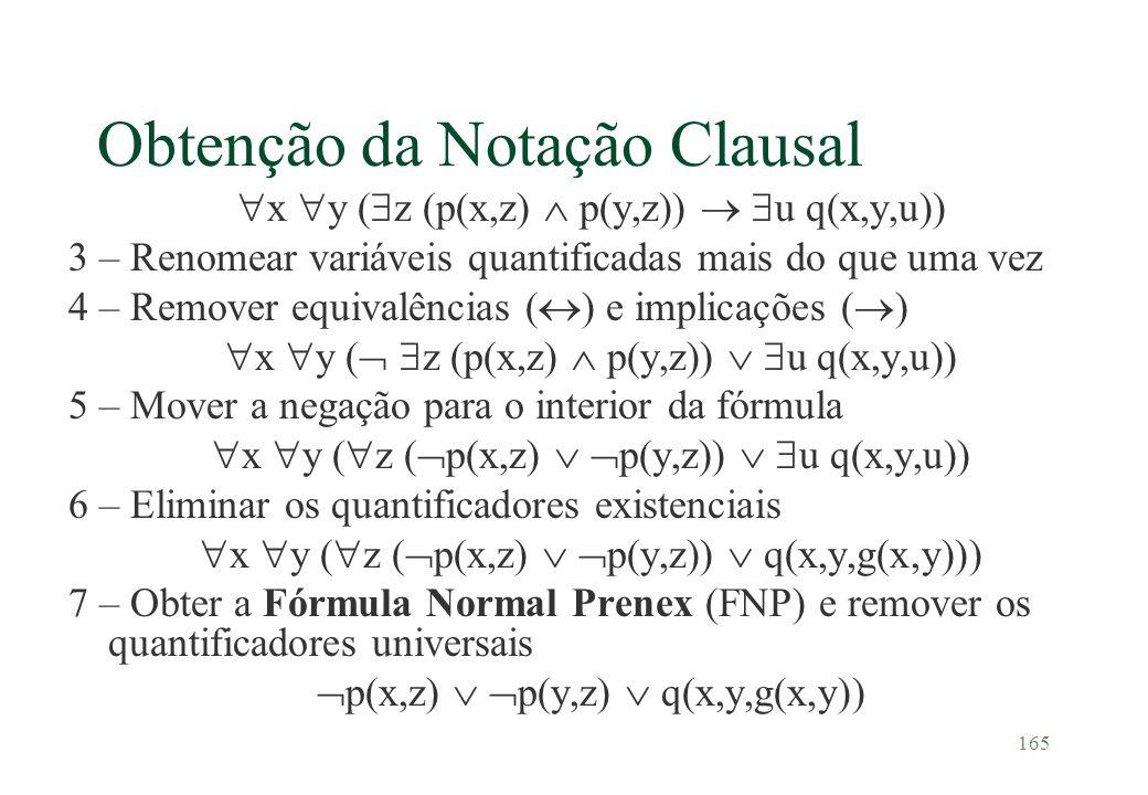 165 Obtenção da Notação Clausal x y ( z (p(x,z) p(y,z)) u q(x,y,u)) 3 – Renomear variáveis quantificadas mais do que uma vez 4 – Remover equivalências