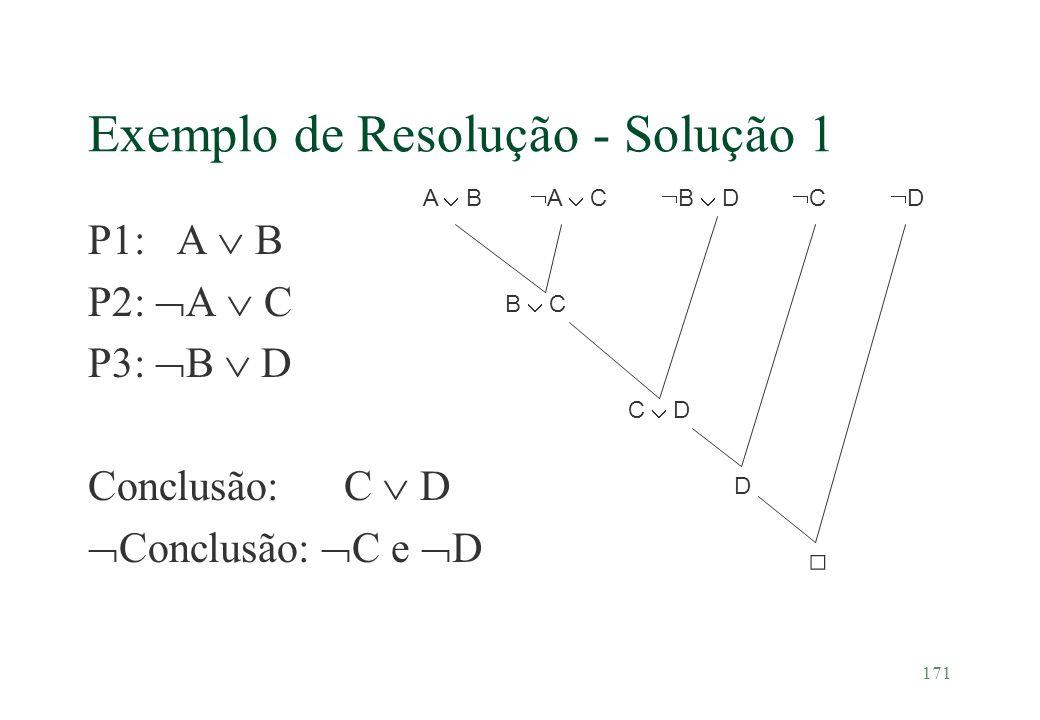 171 Exemplo de Resolução - Solução 1 P1: A B P2: A C P3: B D Conclusão: C D Conclusão: C e D A B A C B C B D C D C D D