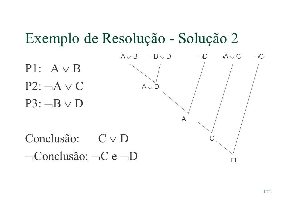 172 Exemplo de Resolução - Solução 2 P1: A B P2: A C P3: B D Conclusão: C D Conclusão: C e D A B A D B D C C D A A C