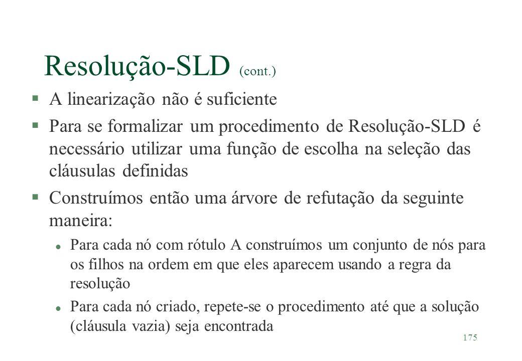 175 Resolução-SLD (cont.) §A linearização não é suficiente §Para se formalizar um procedimento de Resolução-SLD é necessário utilizar uma função de es