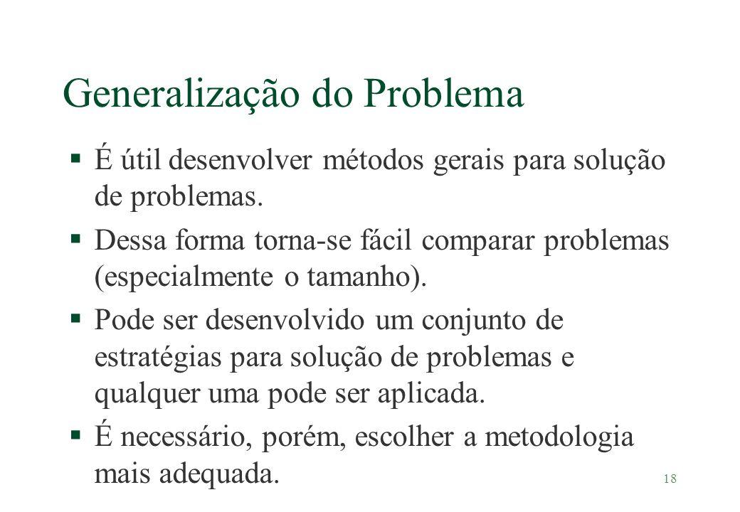 18 Generalização do Problema §É útil desenvolver métodos gerais para solução de problemas. §Dessa forma torna-se fácil comparar problemas (especialmen