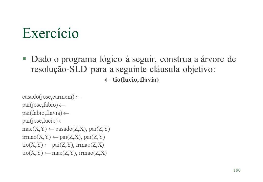 180 Exercício §Dado o programa lógico à seguir, construa a árvore de resolução-SLD para a seguinte cláusula objetivo: tio(lucio, flavia) casado(jose,c