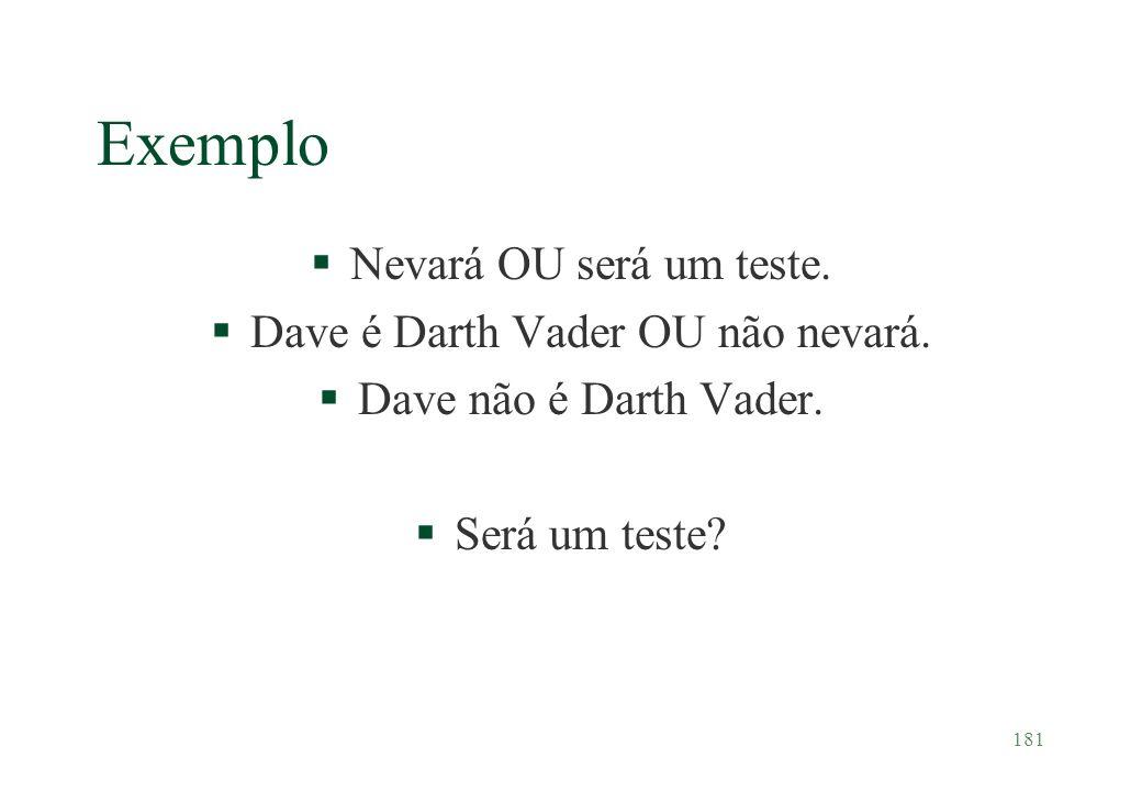 181 Exemplo §Nevará OU será um teste. §Dave é Darth Vader OU não nevará. §Dave não é Darth Vader. §Será um teste?