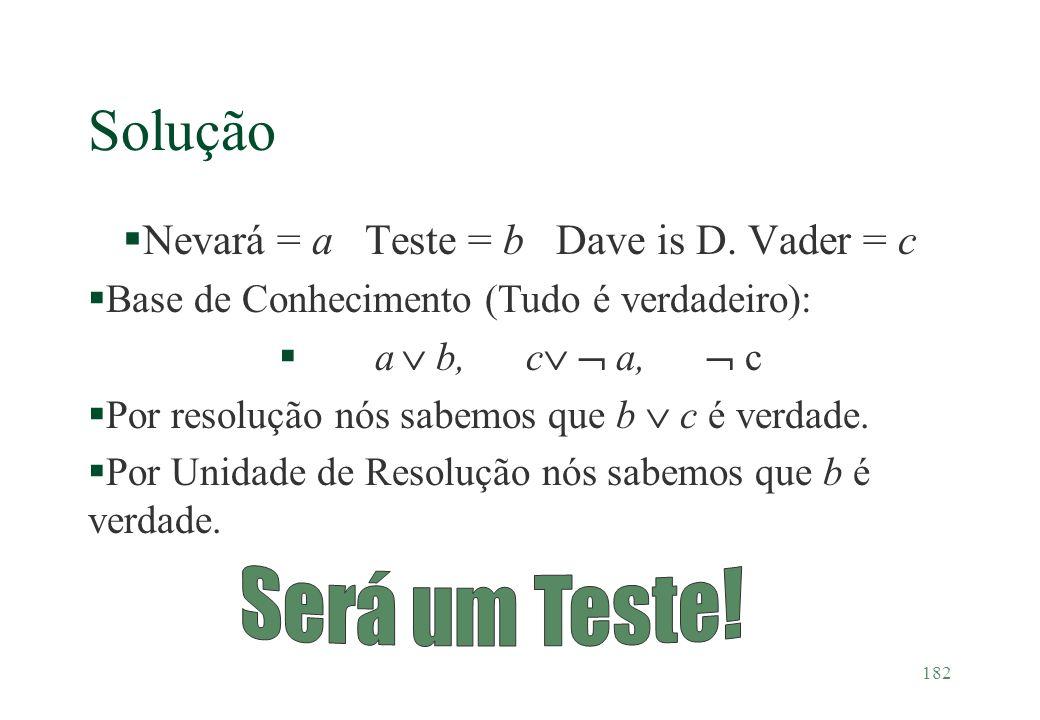 182 Solução §Nevará = a Teste = b Dave is D. Vader = c §Base de Conhecimento (Tudo é verdadeiro): §a b, c a, c §Por resolução nós sabemos que b c é ve