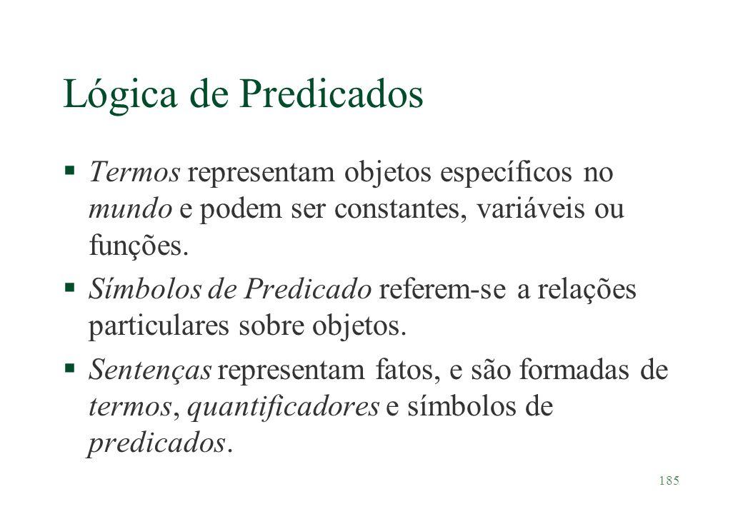 185 Lógica de Predicados §Termos representam objetos específicos no mundo e podem ser constantes, variáveis ou funções. §Símbolos de Predicado referem