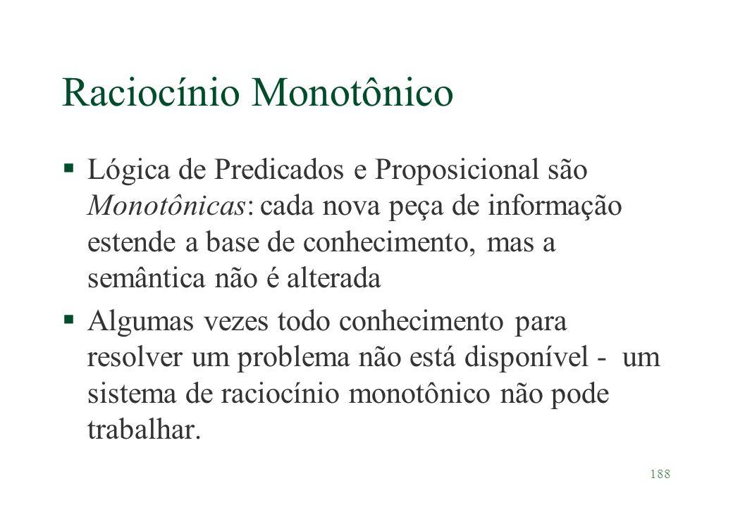 188 Raciocínio Monotônico §Lógica de Predicados e Proposicional são Monotônicas: cada nova peça de informação estende a base de conhecimento, mas a se
