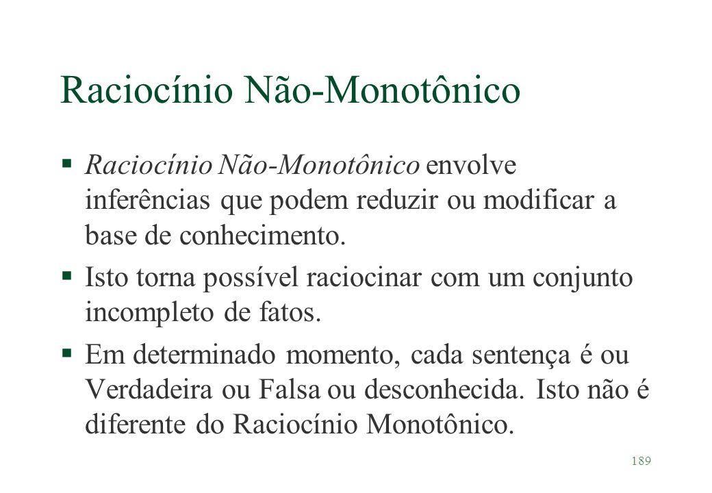 189 Raciocínio Não-Monotônico §Raciocínio Não-Monotônico envolve inferências que podem reduzir ou modificar a base de conhecimento. §Isto torna possív