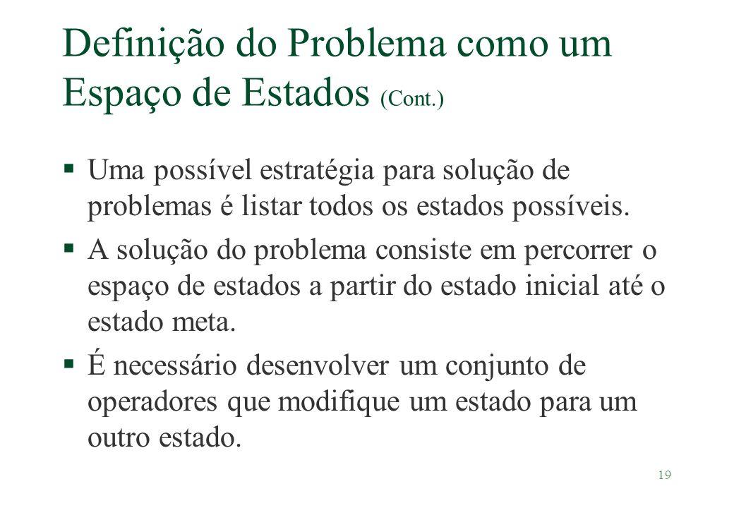 19 Definição do Problema como um Espaço de Estados (Cont.) §Uma possível estratégia para solução de problemas é listar todos os estados possíveis. §A