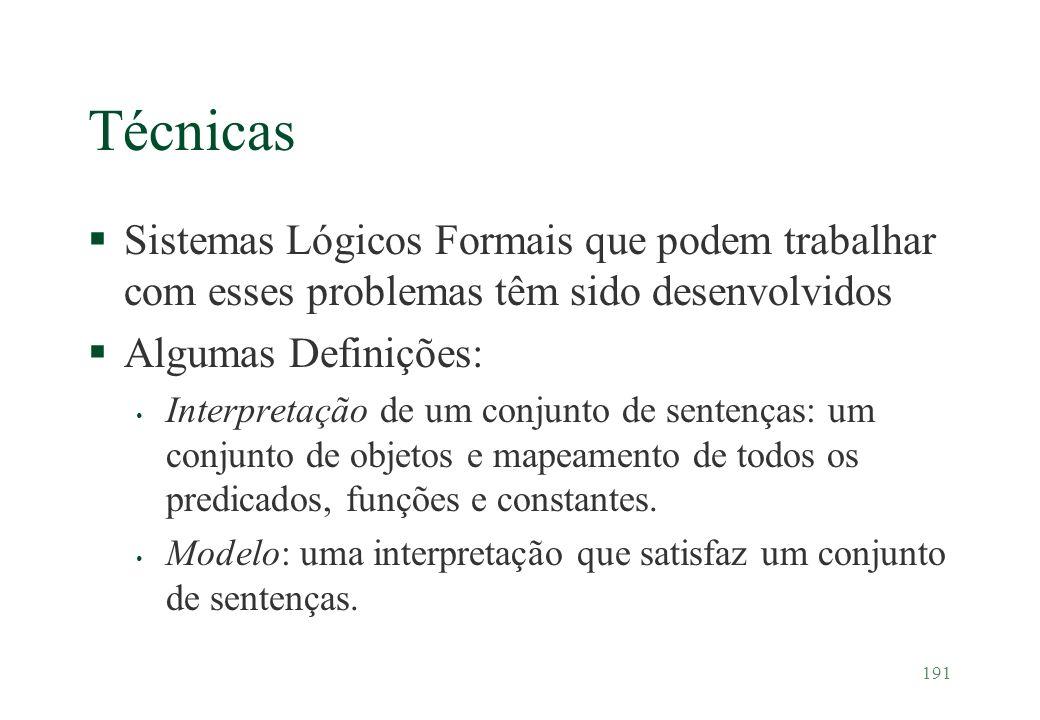 191 Técnicas §Sistemas Lógicos Formais que podem trabalhar com esses problemas têm sido desenvolvidos §Algumas Definições: Interpretação de um conjunt