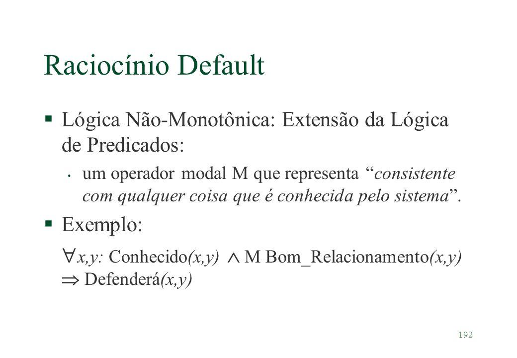 192 Raciocínio Default §Lógica Não-Monotônica: Extensão da Lógica de Predicados: um operador modal M que representa consistente com qualquer coisa que