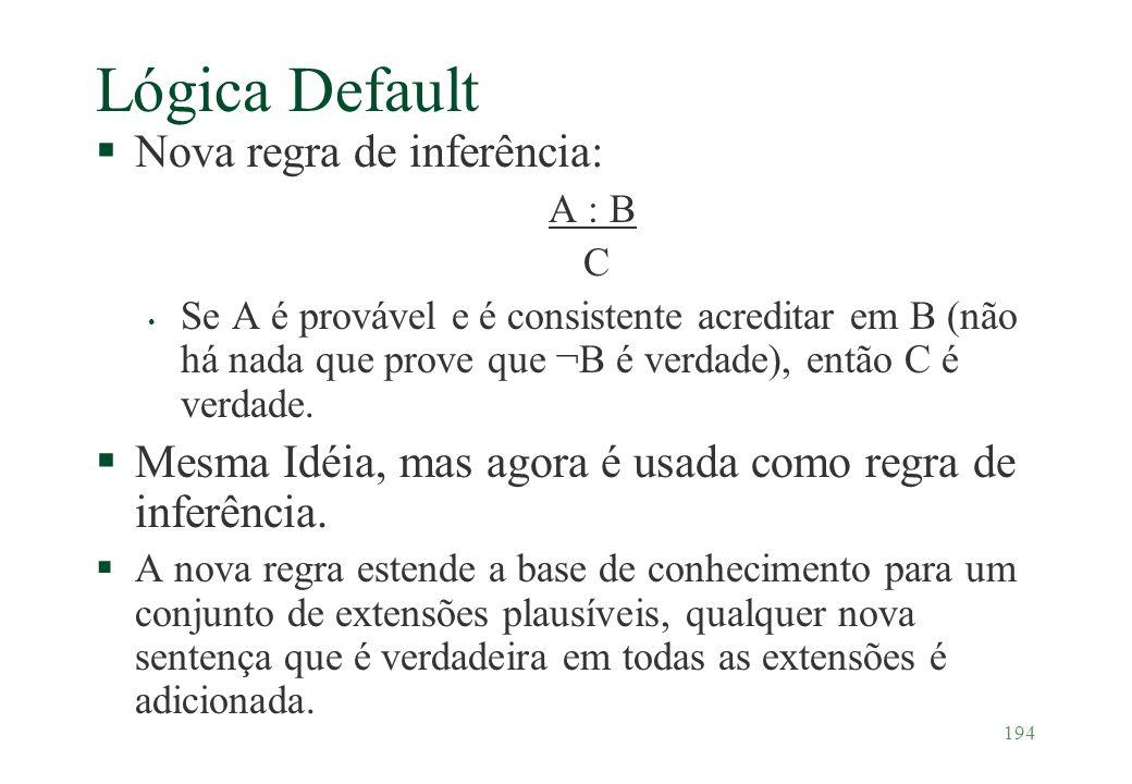 194 Lógica Default §Nova regra de inferência: A : B C Se A é provável e é consistente acreditar em B (não há nada que prove que ¬B é verdade), então C