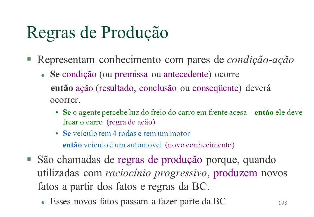 198 Regras de Produção §Representam conhecimento com pares de condição-ação l Se condição (ou premissa ou antecedente) ocorre então ação (resultado, c