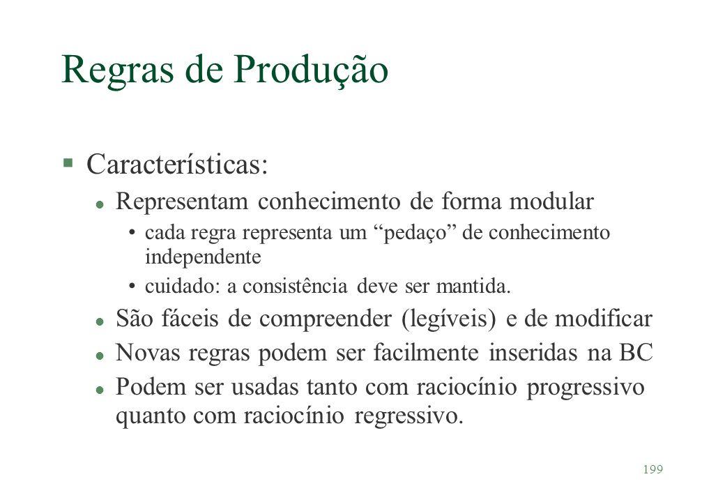 199 Regras de Produção §Características: l Representam conhecimento de forma modular cada regra representa um pedaço de conhecimento independente cuid