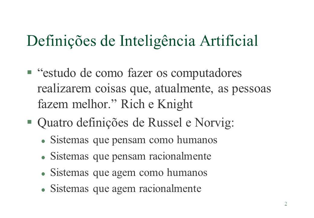 2 Definições de Inteligência Artificial §estudo de como fazer os computadores realizarem coisas que, atualmente, as pessoas fazem melhor. Rich e Knigh