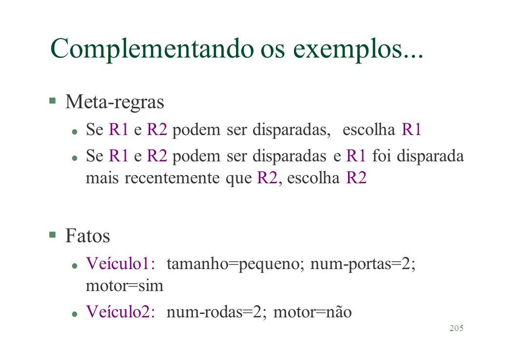 205 Complementando os exemplos... §Meta-regras l Se R1 e R2 podem ser disparadas, escolha R1 l Se R1 e R2 podem ser disparadas e R1 foi disparada mais