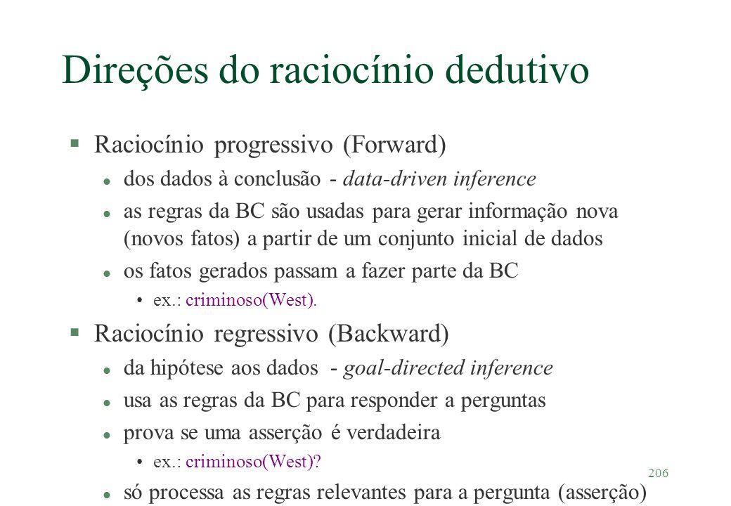 206 Direções do raciocínio dedutivo §Raciocínio progressivo (Forward) l dos dados à conclusão - data-driven inference l as regras da BC são usadas par