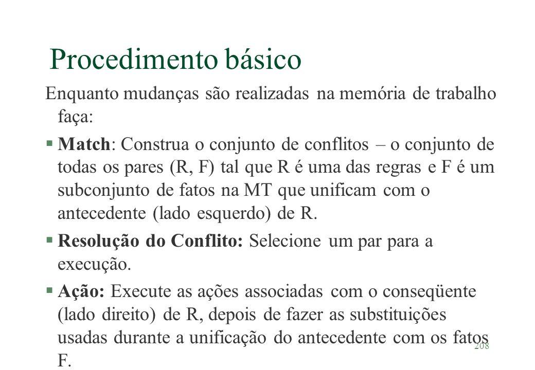 208 Procedimento básico Enquanto mudanças são realizadas na memória de trabalho faça: §Match: Construa o conjunto de conflitos – o conjunto de todas o