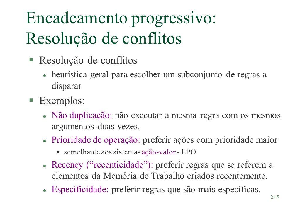 215 Encadeamento progressivo: Resolução de conflitos §Resolução de conflitos l heurística geral para escolher um subconjunto de regras a disparar §Exe