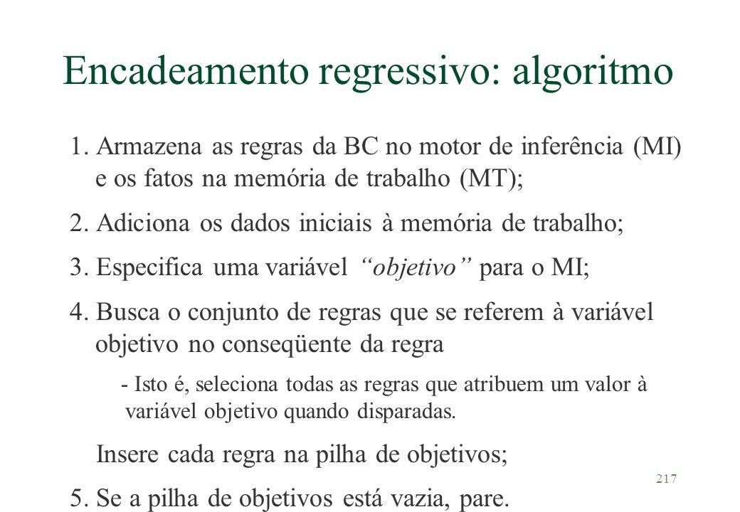 217 Encadeamento regressivo: algoritmo 1. Armazena as regras da BC no motor de inferência (MI) e os fatos na memória de trabalho (MT); 2. Adiciona os