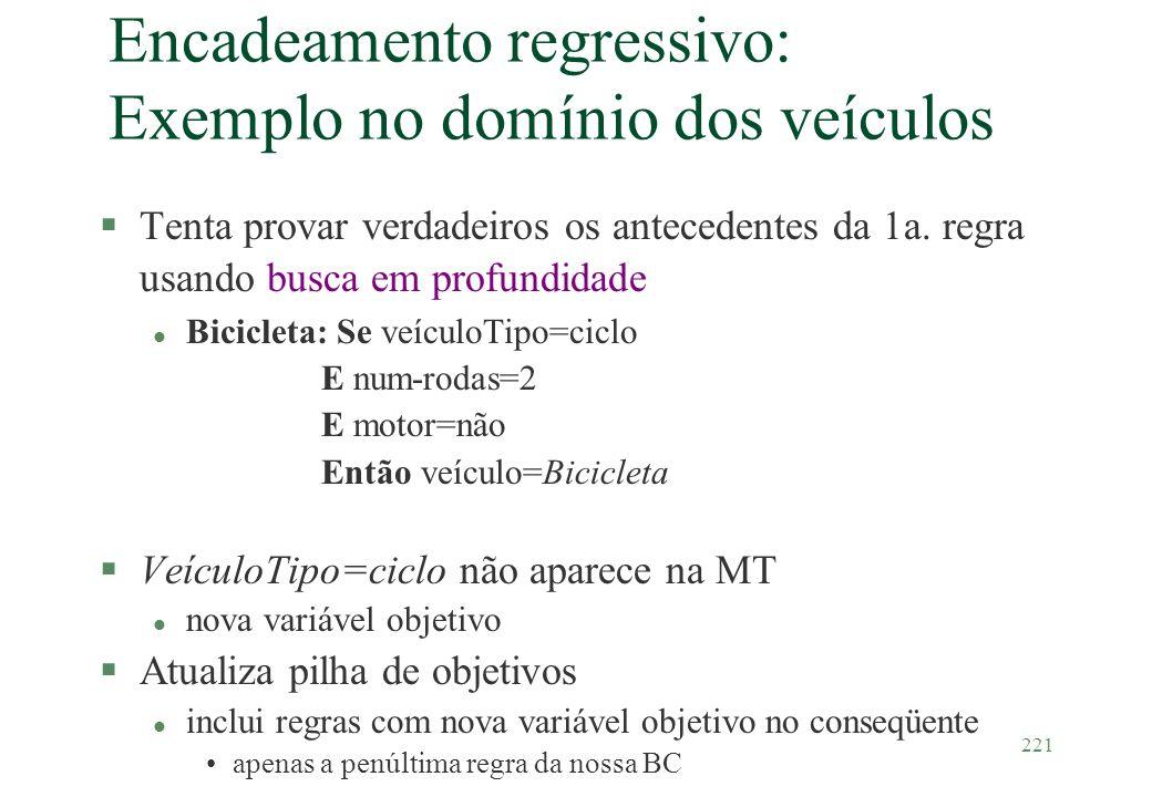 221 Encadeamento regressivo: Exemplo no domínio dos veículos §Tenta provar verdadeiros os antecedentes da 1a. regra usando busca em profundidade l Bic