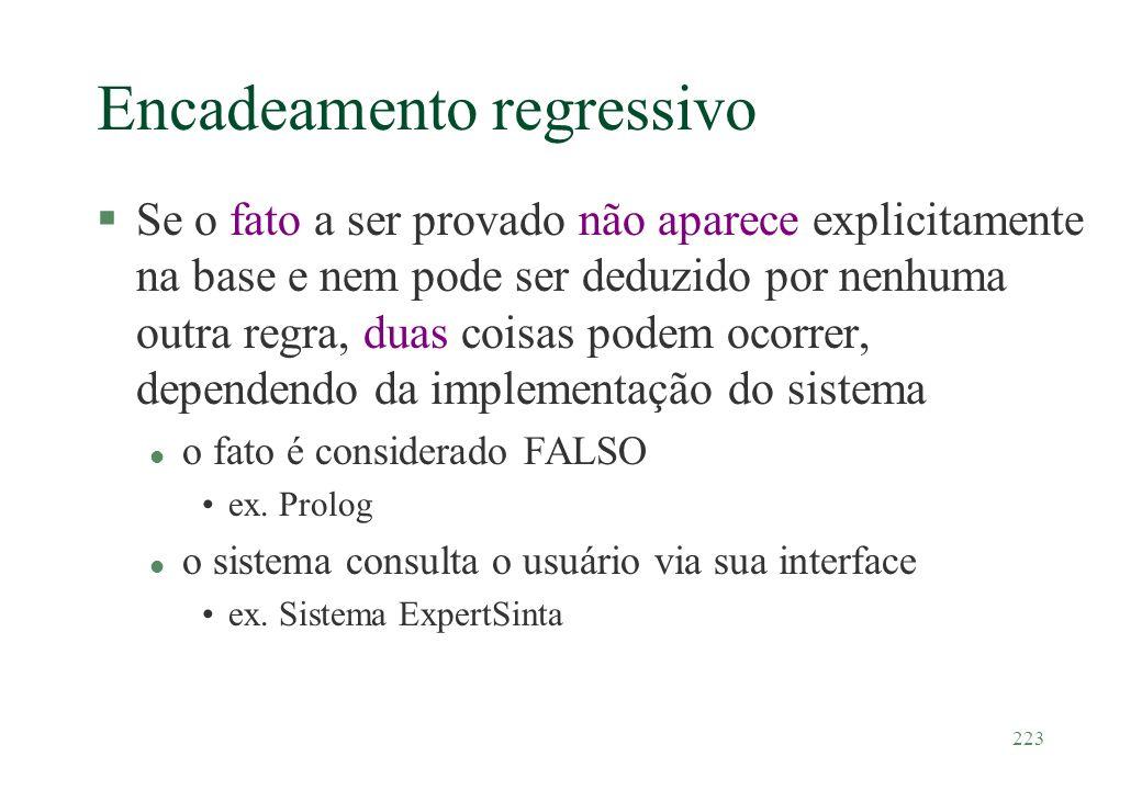 223 Encadeamento regressivo §Se o fato a ser provado não aparece explicitamente na base e nem pode ser deduzido por nenhuma outra regra, duas coisas p