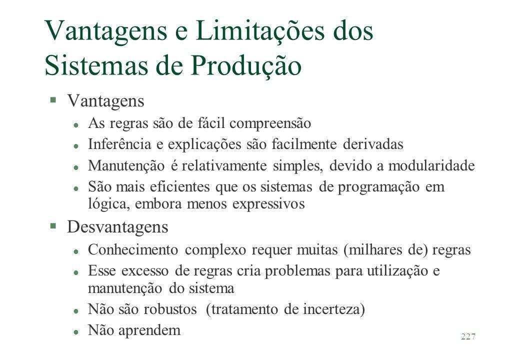 227 Vantagens e Limitações dos Sistemas de Produção §Vantagens l As regras são de fácil compreensão l Inferência e explicações são facilmente derivada
