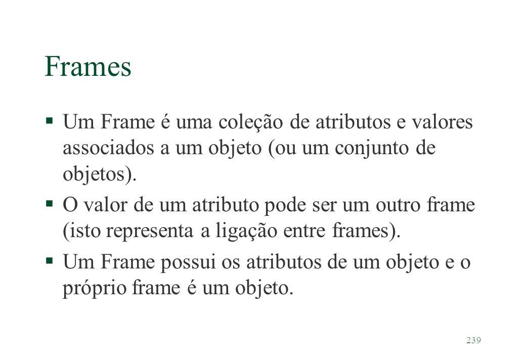 239 Frames §Um Frame é uma coleção de atributos e valores associados a um objeto (ou um conjunto de objetos). §O valor de um atributo pode ser um outr