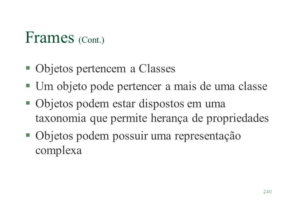 240 Frames (Cont.) §Objetos pertencem a Classes §Um objeto pode pertencer a mais de uma classe §Objetos podem estar dispostos em uma taxonomia que per