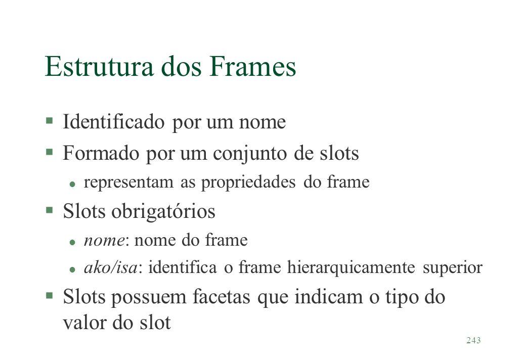 243 Estrutura dos Frames §Identificado por um nome §Formado por um conjunto de slots l representam as propriedades do frame §Slots obrigatórios l nome