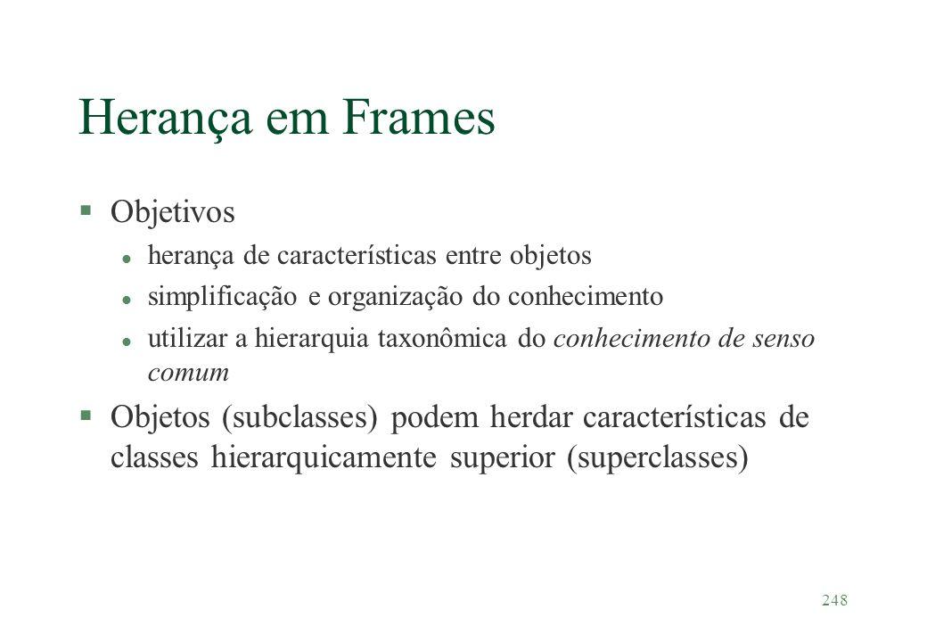 248 Herança em Frames §Objetivos l herança de características entre objetos l simplificação e organização do conhecimento l utilizar a hierarquia taxo