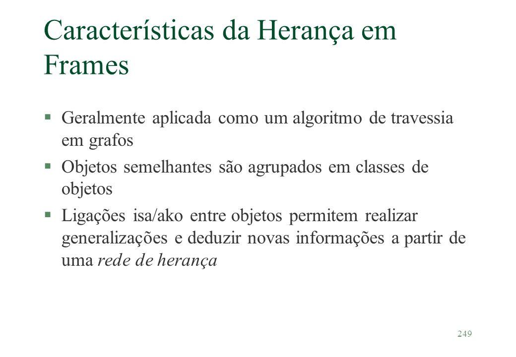 249 Características da Herança em Frames §Geralmente aplicada como um algoritmo de travessia em grafos §Objetos semelhantes são agrupados em classes d