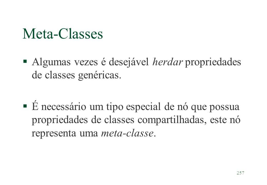 257 Meta-Classes §Algumas vezes é desejável herdar propriedades de classes genéricas. §É necessário um tipo especial de nó que possua propriedades de