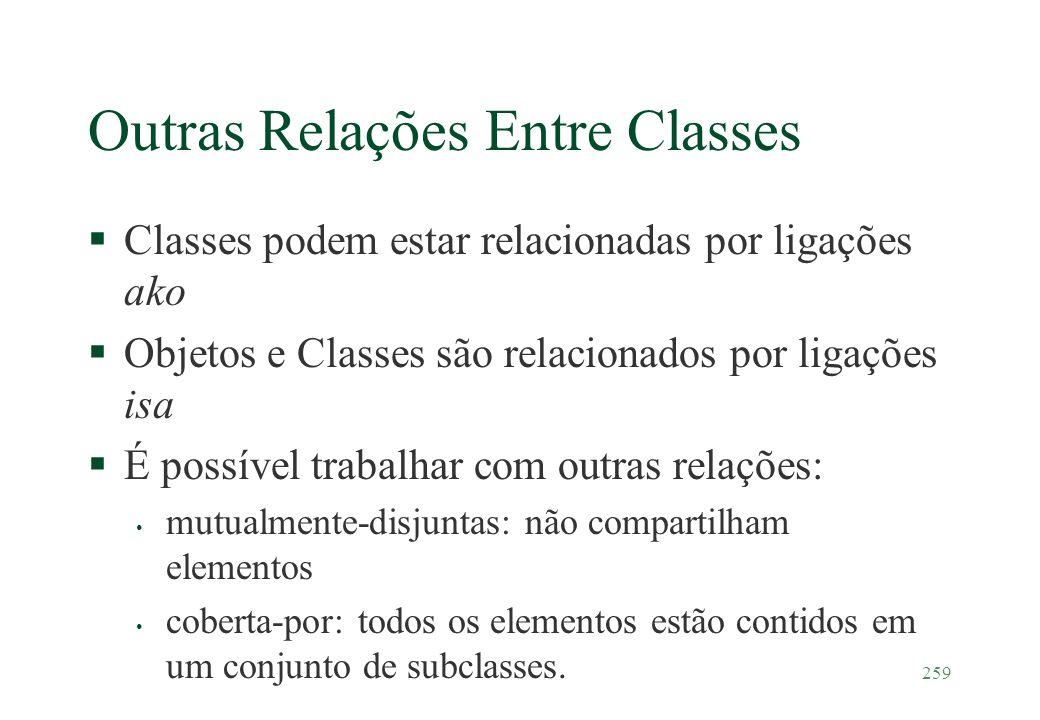 259 Outras Relações Entre Classes §Classes podem estar relacionadas por ligações ako §Objetos e Classes são relacionados por ligações isa §É possível