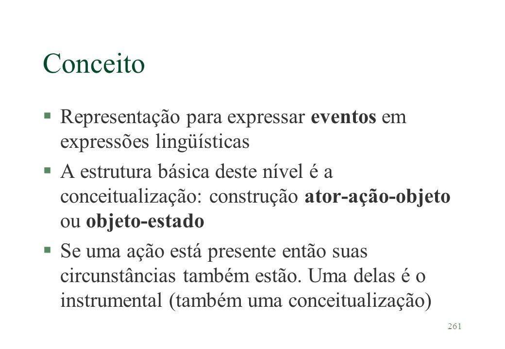 261 Conceito §Representação para expressar eventos em expressões lingüísticas §A estrutura básica deste nível é a conceitualização: construção ator-aç