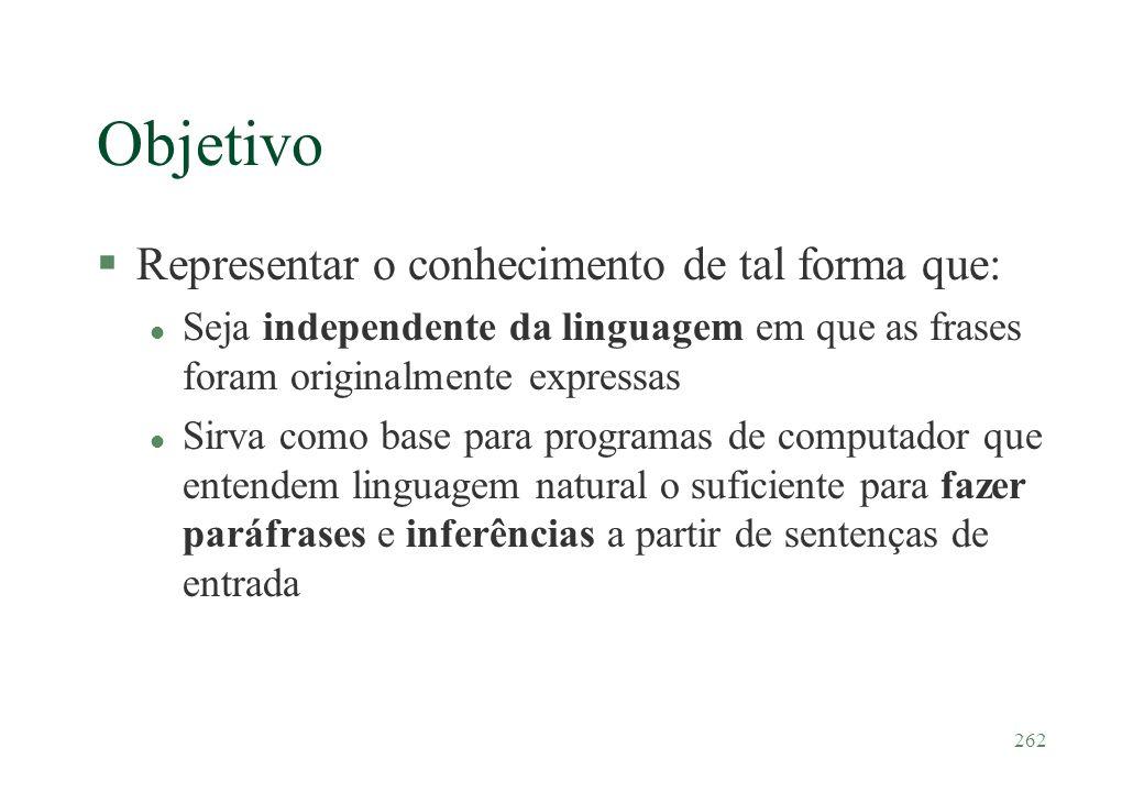 262 Objetivo §Representar o conhecimento de tal forma que: l Seja independente da linguagem em que as frases foram originalmente expressas l Sirva com