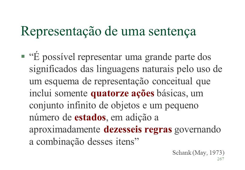 267 Representação de uma sentença §É possível representar uma grande parte dos significados das linguagens naturais pelo uso de um esquema de represen