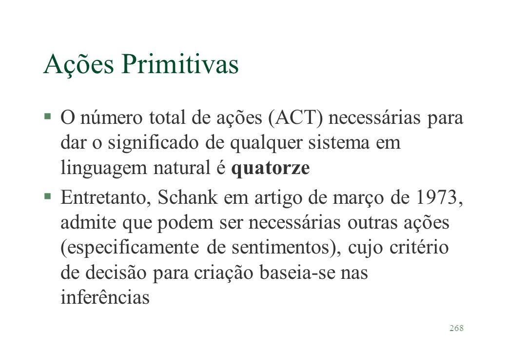 268 Ações Primitivas §O número total de ações (ACT) necessárias para dar o significado de qualquer sistema em linguagem natural é quatorze §Entretanto
