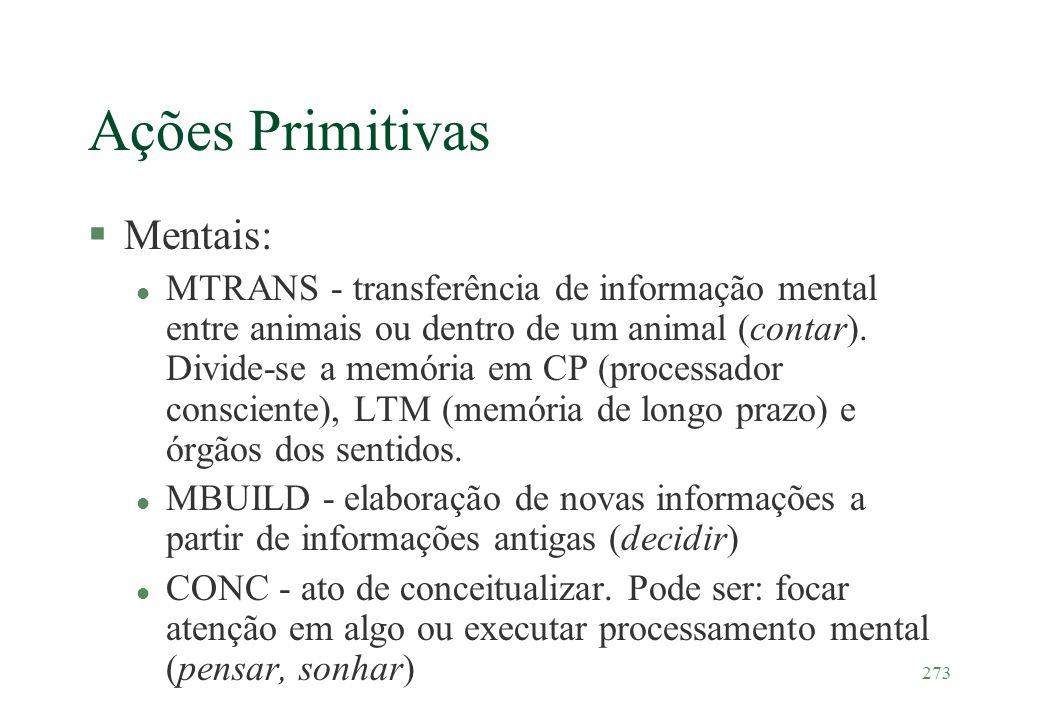 273 Ações Primitivas §Mentais: l MTRANS - transferência de informação mental entre animais ou dentro de um animal (contar). Divide-se a memória em CP