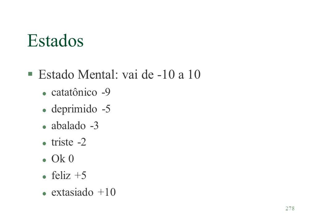 278 Estados §Estado Mental: vai de -10 a 10 l catatônico -9 l deprimido -5 l abalado -3 l triste -2 l Ok 0 l feliz +5 l extasiado +10