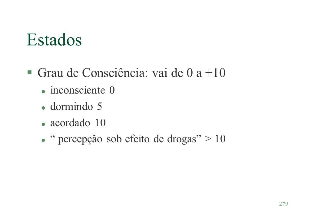 279 Estados §Grau de Consciência: vai de 0 a +10 l inconsciente 0 l dormindo 5 l acordado 10 l percepção sob efeito de drogas > 10