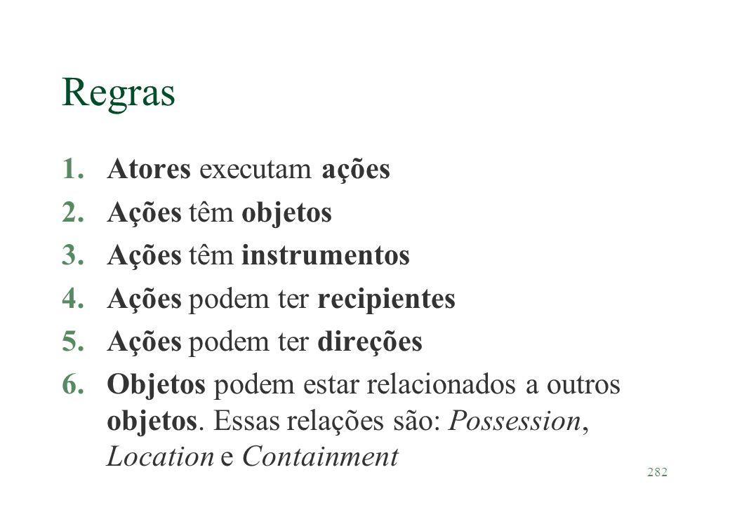 282 Regras 1.Atores executam ações 2.Ações têm objetos 3.Ações têm instrumentos 4.Ações podem ter recipientes 5.Ações podem ter direções 6.Objetos pod